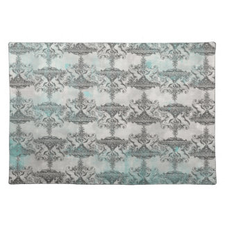 teal stained black design place mats