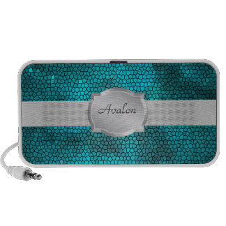 Teal Stained Glass Name Portable Speaker