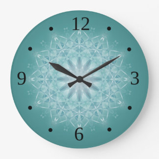 Teal Star Mandala Numbers Large Clock