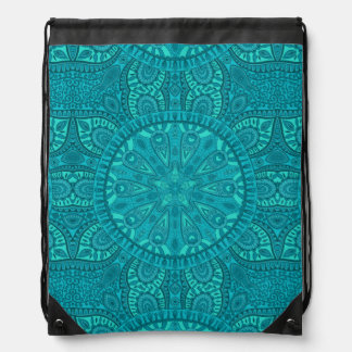 Teal Starburst Design Drawstring Bag