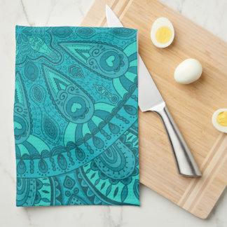 Teal Starburst Design Hand Towels