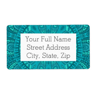 Teal Starburst Design Shipping Label