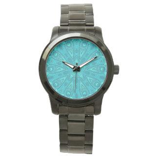 Teal Starburst Design Wristwatch