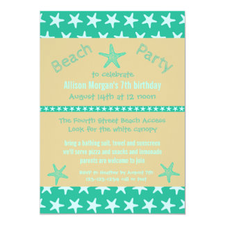 Teal Starfish Beach - Birthday Party Invitation
