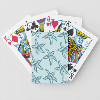 Teal Starfish Bicycle Playing Cards