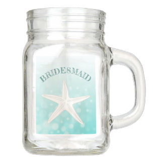 Teal Starfish Thank You Bridesmaid Mason Glass Jar