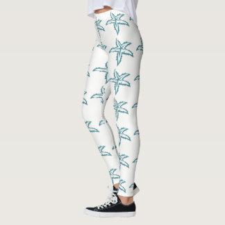 Teal Starfish White Leggings