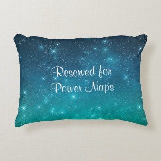 Teal Starry Sky Reserved for Power Naps Decorative Cushion
