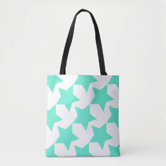 Teal Stars Pattern Custom All-Over-Print Tote Bag