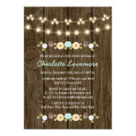 Teal String of Lights Fall Rustic Boy Baby Shower 13 Cm X 18 Cm Invitation Card