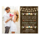 Teal String of Lights Fall Rustic Save the Date Postcard