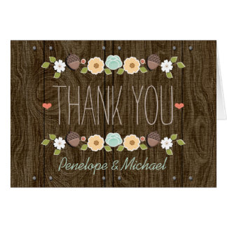 Teal String of Lights Fall Rustic Thank You Card