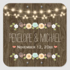 Teal String of Lights Rustic Fall Acorn Wedding Square Sticker