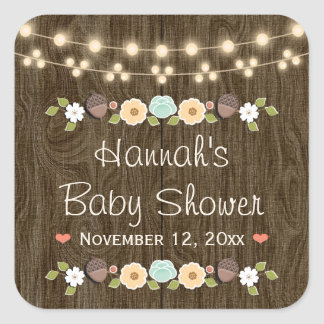 Teal String of Lights Rustic Fall Bridal Shower Square Sticker