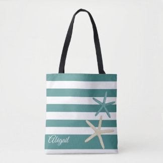 Teal Stripe Starfish Personalized Tote Bag