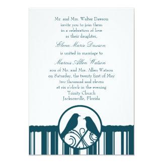"Teal Stripe Wedding Invitation 5"" X 7"" Invitation Card"