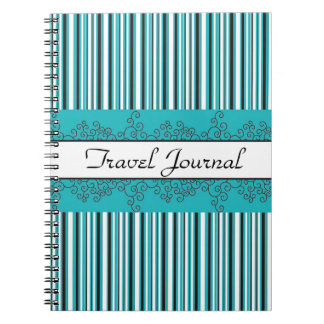Teal Stripes and Curls Note Books