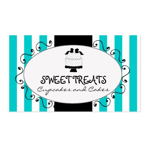Teal Stripes Cupcake Cake Bakery Business Card