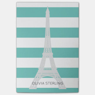 Teal Stripes & Eiffel Tower   Custom Name Post-it Notes