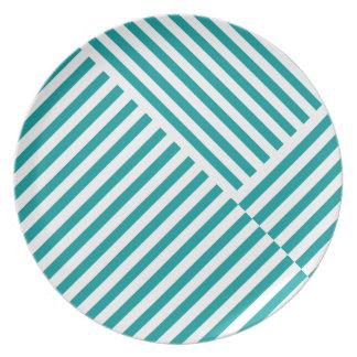 Teal Stripes Pattern Plate