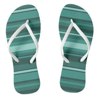Teal stripes thongs