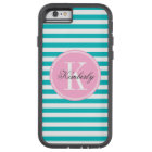 Teal Stripes with Bubblegum Pink Monogram Tough Xtreme iPhone 6 Case