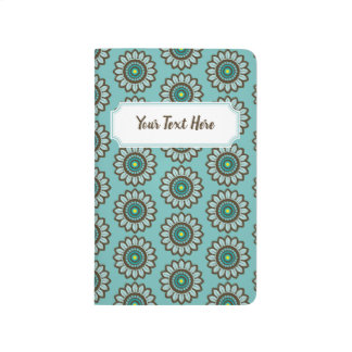 Teal Stylised Retro Floral Pattern with Nameplate Journal
