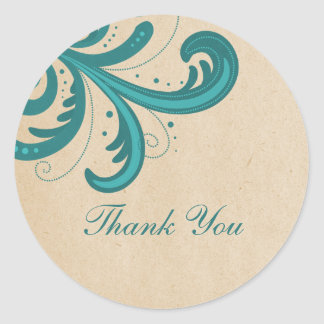 Teal Stylish Swirls Thank You Stickers