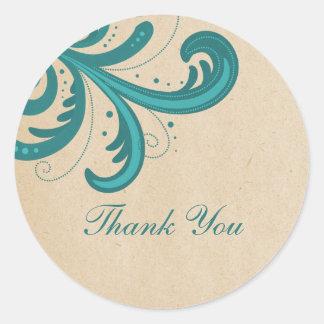 Teal Stylish Swirls Thank You Stickers