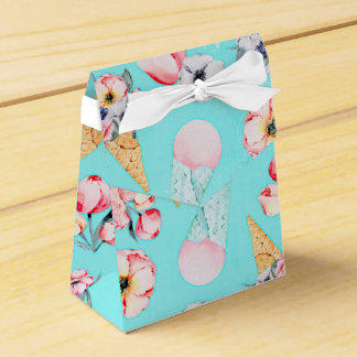 Teal Summer Fun Flower Ice Cream Cone - Pattern Favour Box