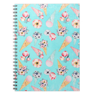 Teal Summer Fun Flower Ice Cream Cone - Pattern Notebook