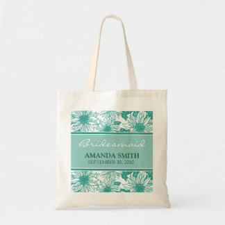 Teal Sunflowers Personalized Wedding Party Bag