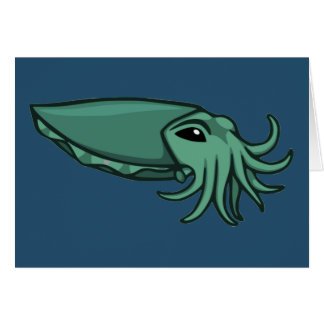 Teal Swimming Cuttlefish Card
