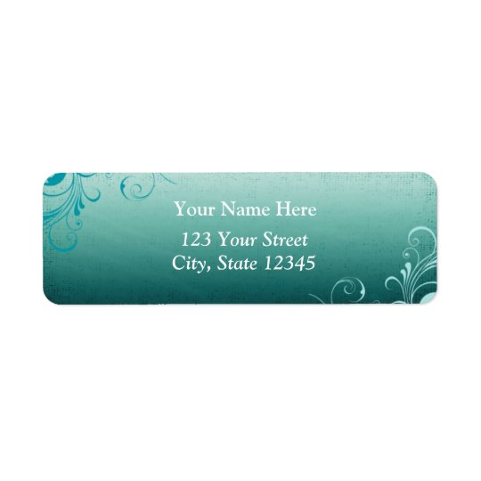 Teal Swirl Address Label
