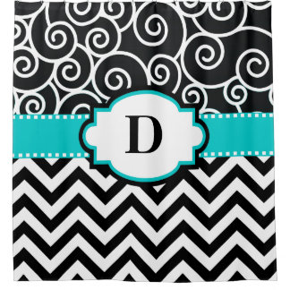 Teal Swirl Chevron Personalized Shower Curtain