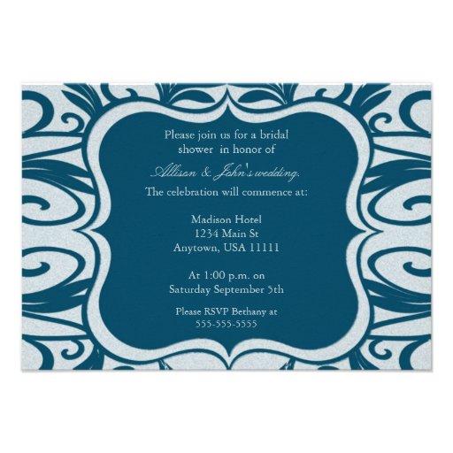 Teal Swirl Emblem Bridal Shower Invitation
