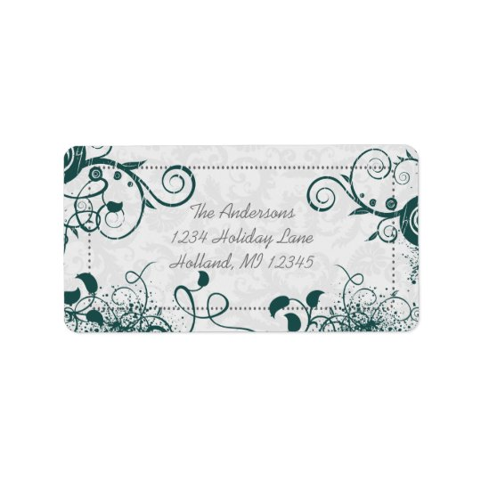 Teal Swirl Return Address Address Label
