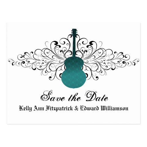 Teal Swirls Guitar Save the Date Postcard