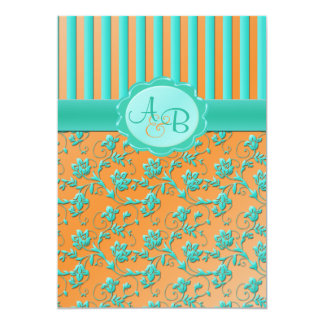 Teal & Tangerine Floral Stripe Monogram Invitation