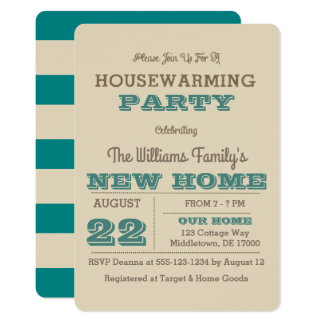 Teal & Taupe Stripe Housewarming Invitation