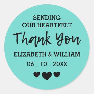 Teal Thank You Chic Sticker = A Heart-Felt Wedding