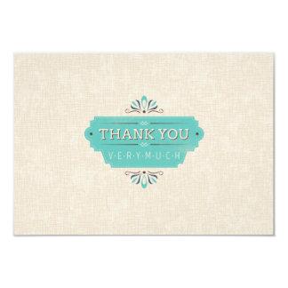 Teal Thank You Flat Card 9 Cm X 13 Cm Invitation Card