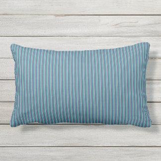 Teal Ticking Stripes Lumbar Pillow