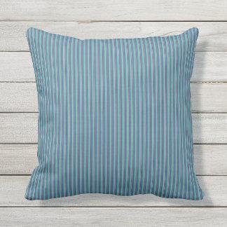 Teal Ticking Stripes Outdoor Throw Pillow 16x16