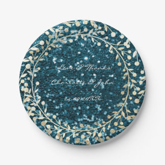 Teal Tiffany Glitter Foxier Gold Wreath Garland 7 Inch Paper Plate