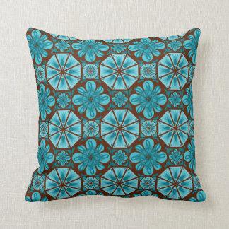 Teal Tile Throw Pillow