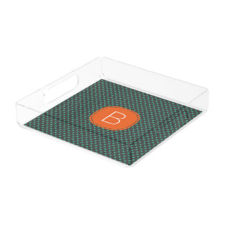 Teal Tiny X Pattern on Gray with Orange Monogram Acrylic Tray