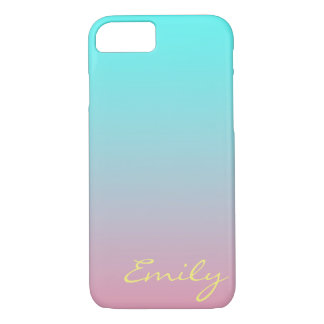 Teal to Pink Simple Gradient Blended Background iPhone 7 Case
