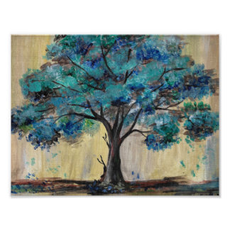 Teal Tree Poster