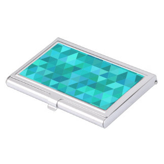 Teal triangle pattern business card holder